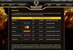 Deeposit Option Golden Lion