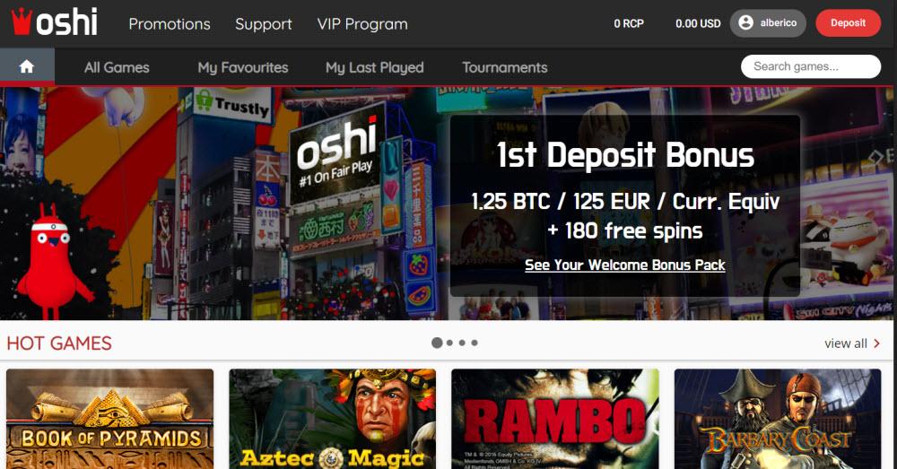 Oshi Casino Online No Deposit Bonus Codes